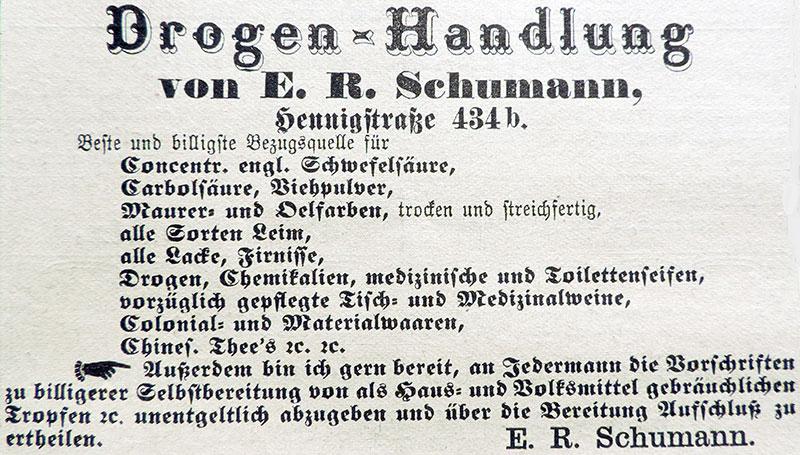 Zeitungswerbung von E.R. Schumann, März 1884