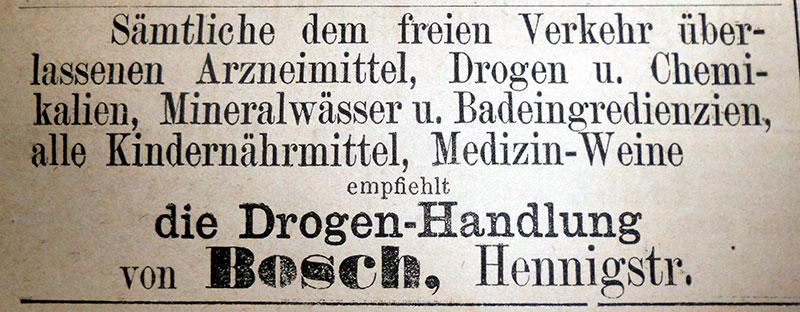 Zeitungswerbung von Jacob Bosch, April 1892