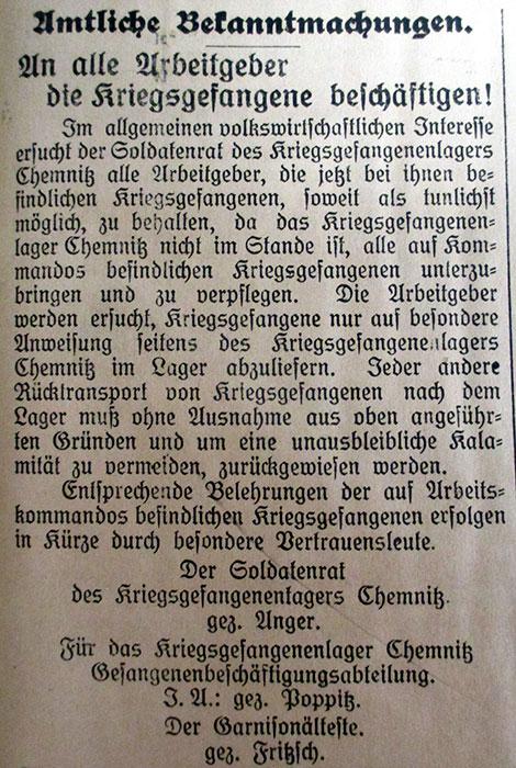 Bekanntmachung des Kriegs-gefangenenlagers Chemnitz, Nachrichten und Anzeigeblatt für Nerchau, Trebsen und Umgebung 20.11.1918