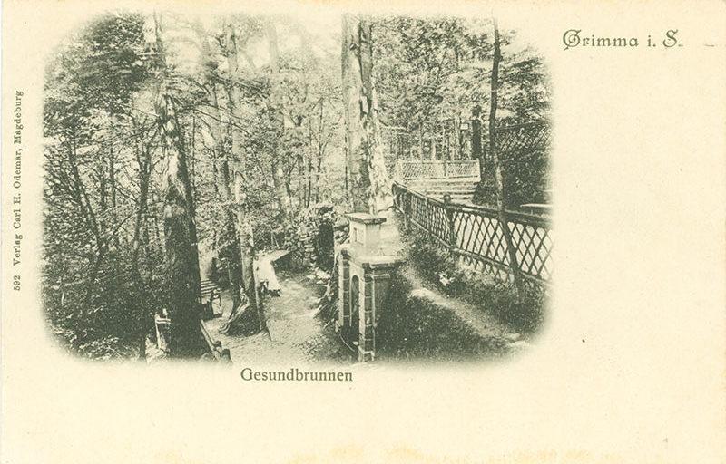 Gesundbrunnen, Postkarte um 1900 (Kreismuseum) Im Hintergrund erkennt man Bänke und eine Feuerstelle, in der die Besucher vorzugsweise Kaffee zubereiteten.