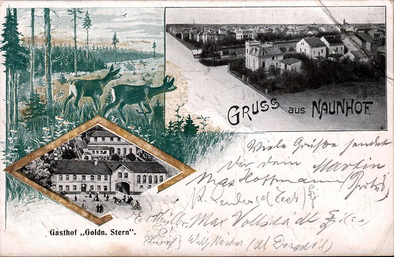 """Ansichten von Naunhof, Postkarte Stempel 1907. In der Vignette unten links der Gasthof """"Goldener Stern"""" in dessen Räumen die Gewerbeausstellung stattfand."""