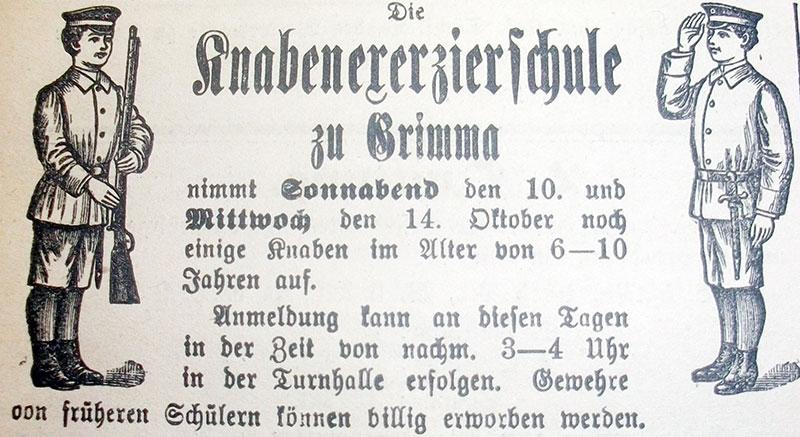 Anzeige der Exerzierschule Wessel in den Nachrichten für Grimma, 1908