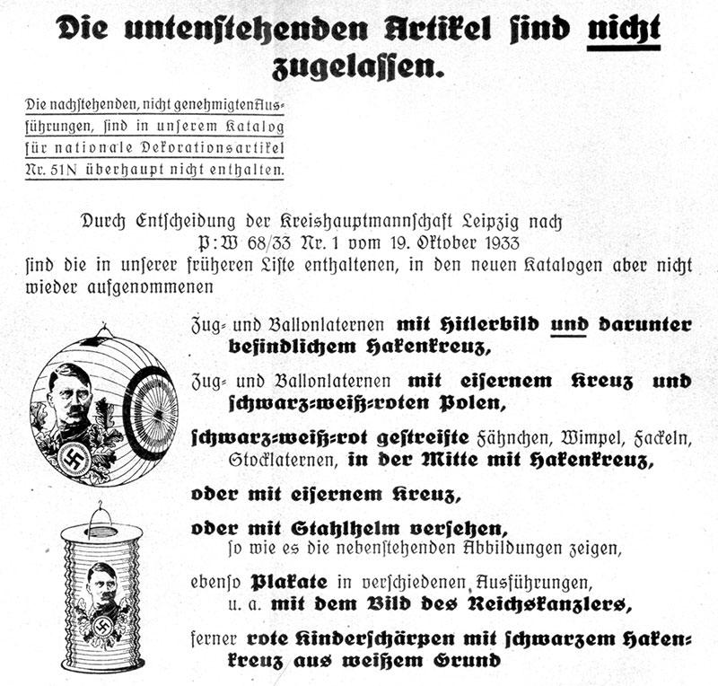 Auszug aus einem Aufklärungsblatt der Firma Weißing, 1937 (privat) Da im Laufe der Auseinandersetzung Verwirrung bei den zuständigen Organen herrschte, verschickte die Firma Aufklärungsblätter welche über gerade erlaubte bzw. verbotene Produkte informierten.