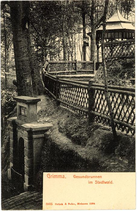 Gesundbrunnen, Postkarte 1904 (Kreismuseum). Oberhalb des Brunnens ist der 1904 vom Verschönerungsverein errichtete Pavillon zu sehen.