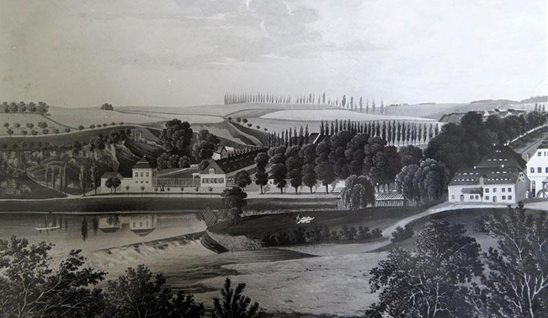 Ansicht des ehemaligen Fabrikgeländes, am rechten Bildrand die Großmühle, Lithographie um 1845 (Kreismuseum Grimma)
