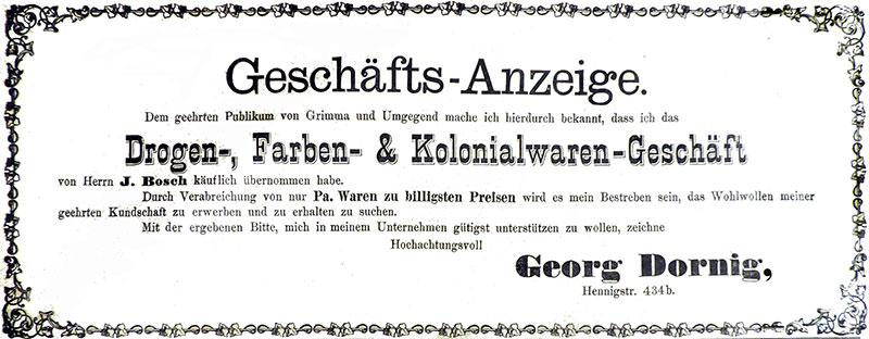 Anzeige anlässlich der Geschäftsübernahme von Wilhelm Heinrich Georg Dornig, 1. Januar 1893