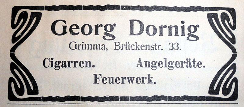 Katalogwerbung 1908 (Peter Fricke) Schon der Firmengründer Wilhelm Heinrich Georg Dornig betätigte sich nebenbei als Feuerwerker. Einige Abschlussfeuerwerke der jährlichen Schützenfeste und das Feuerwerk zur Gewerbeausstellung 1908 stammten von ihm.
