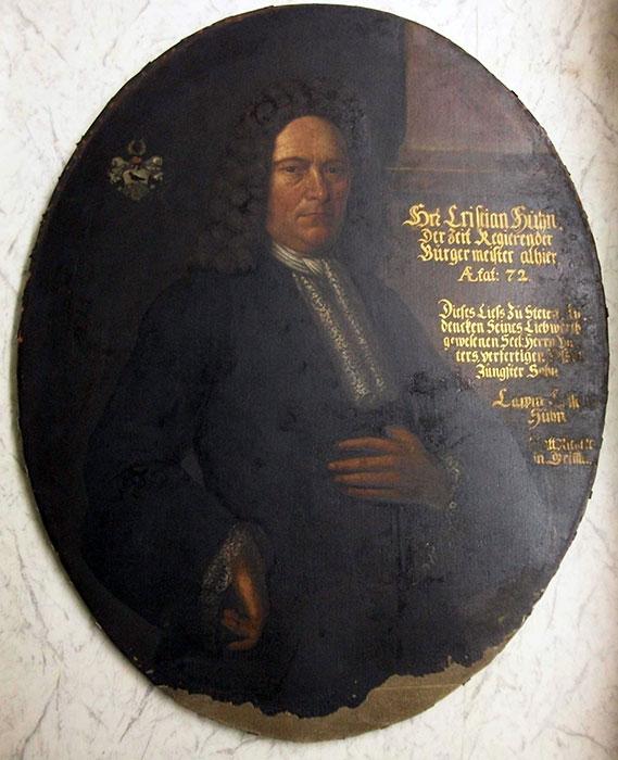 Portrait des Grimmaer Bürgermeisters Christian Huhn, gemalt von seinem jüngsten Sohn (Kreismuseum Grimma)