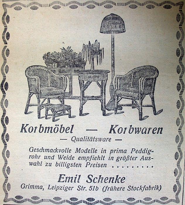 Werbeanzeige von Emil Schenke, Oktober 1927. Im Zuge des Konkurses erwarb Emil Schenke das Korbmöbellager und veräußerte in der Folge die Restbestände.