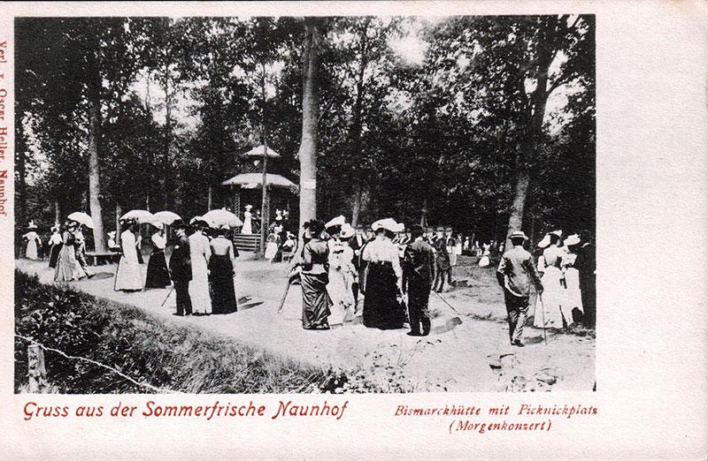 Bismarckhütte während eines Morgenkonzertes, Postkarte um 1900 (Peter Fricke)