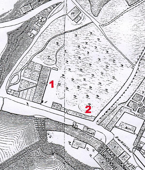 Detail mit dem Fabrikgelände aus dem Stadtplan von Lorenz, 1850, 1 ehemaliger Websaal, später Dienstgebäude der Amtshauptmannschaft, 2 ehemalige Färberei und Nebengebäude, spätere Papiermühle