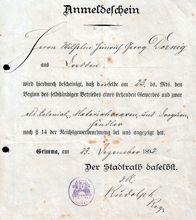 Gewerbeanmeldeschein von W. H. Georg Dornig, 23. Dezember 1892 (Georg Dornig)