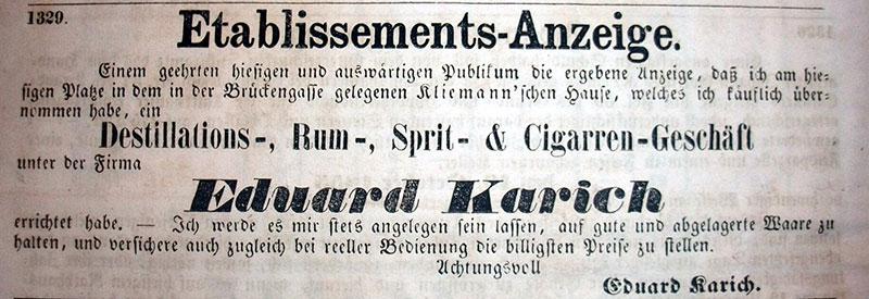 Geschäftseröffnungsanzeige von Eduard Karich, Oktober 1855