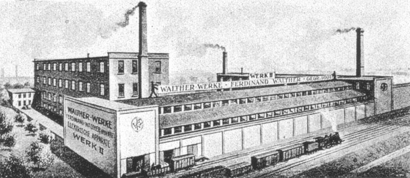 Die Gebäude der ehemaligen Stockfabrik als Teil der von den Walther-Werken eingerichteten Gießerei, Festschrift zum 40jährigen Bestehen 1937