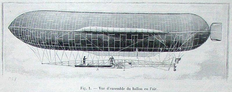 Das Luftschiff kurz nach dem Aufstieg, aus: La Nature 1902