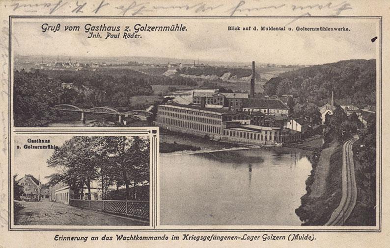 Postkarte mit Ansicht des Kriegsgefangenenlagers