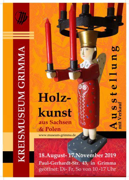 Plakat der Ausstellung Holzkunst in Polen und SachsenSachsen