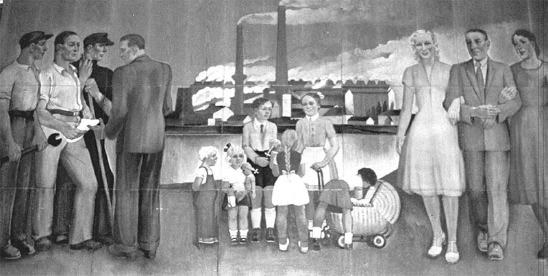 Wandgemälde im Speisesaal des Braunkohlenwerkes Borna
